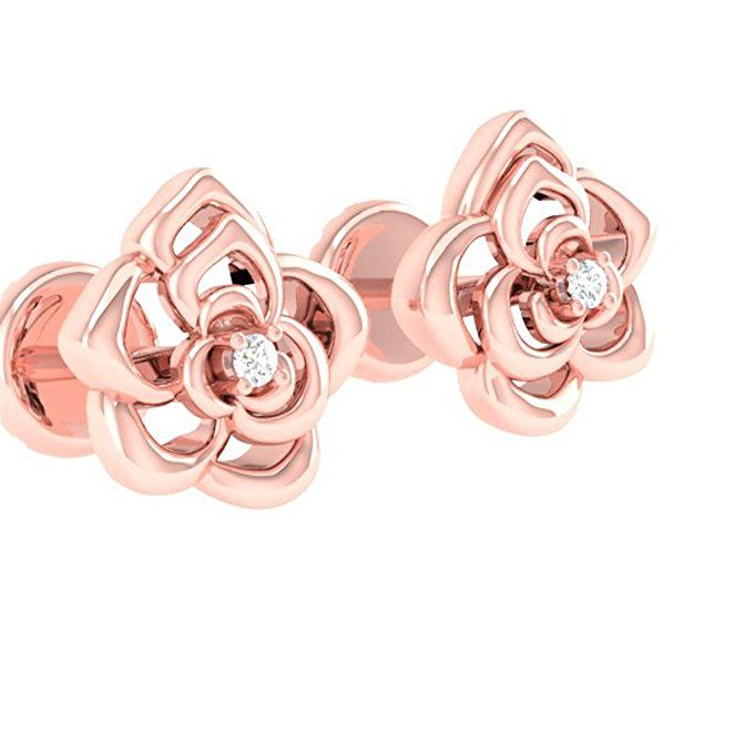 AmazonSmile: 0.02 Carat (ctw) 14K Rose Gold Round Cut White Diamond Ladies Flower Shaped Stud Earrings: Jewelry