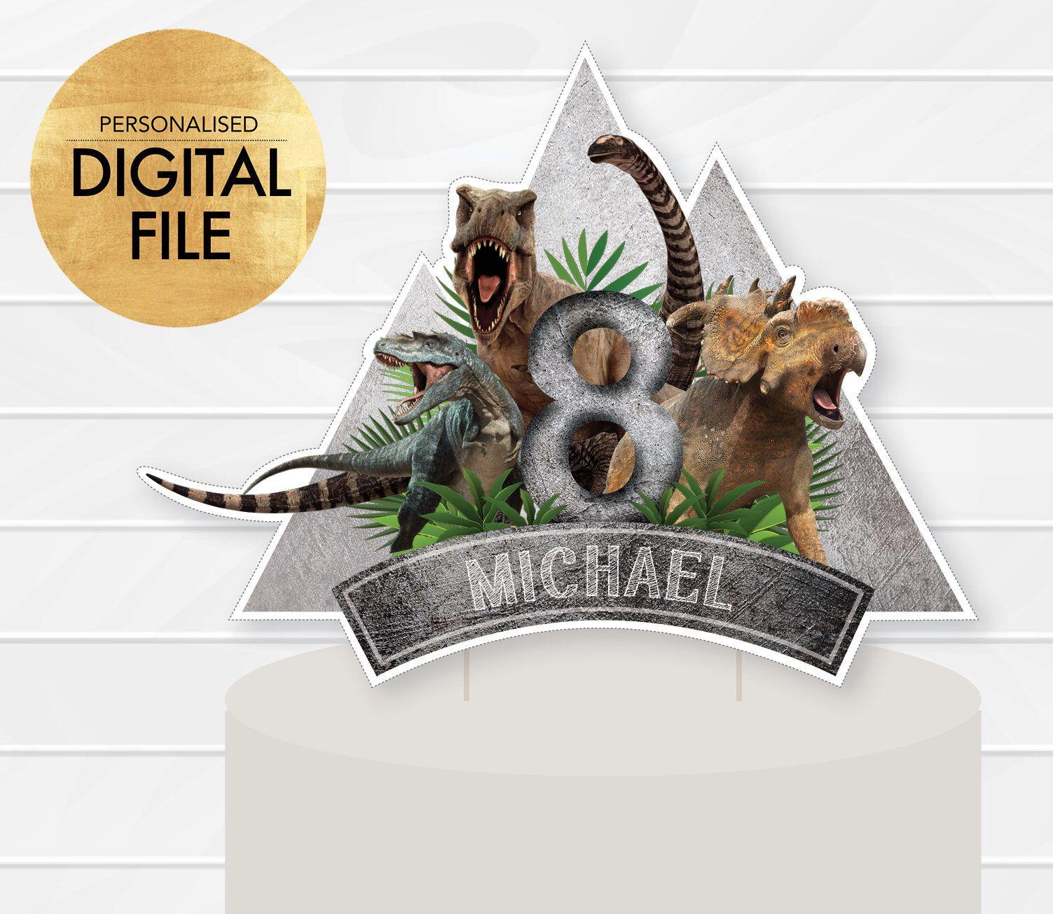 Dinosaur cake topper dinosaur cake decor digital