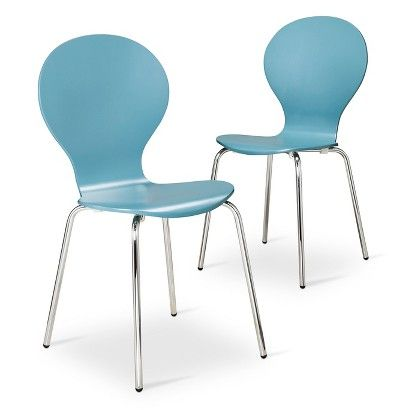 Modern Stacking Chair Set Of 2 Azalea Blue Chair Set Chairs