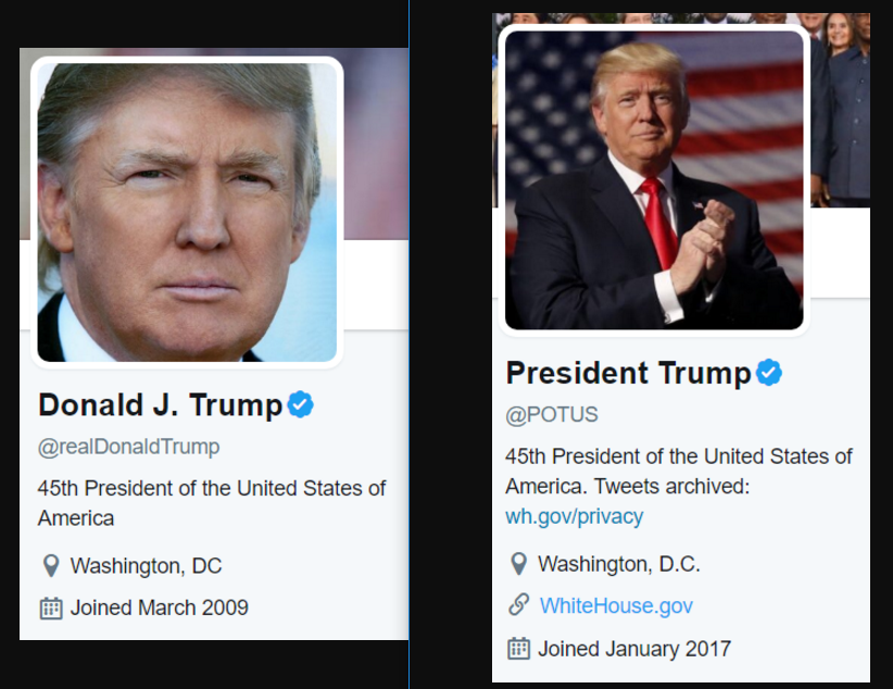 """President Trump's Inconsistent Spelling of """"Washington D.C."""" in His Twitter Bios"""