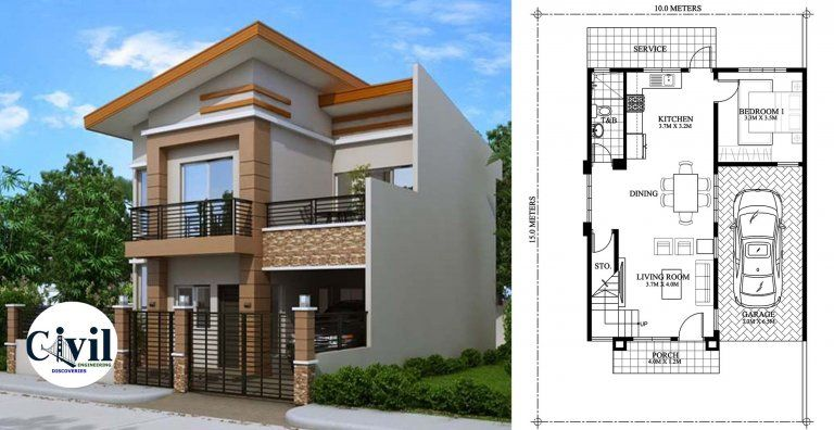 Modern House With Plan Details Engineering Discoveries Open Floor House Plans Affordable House Plans Two Story House Design