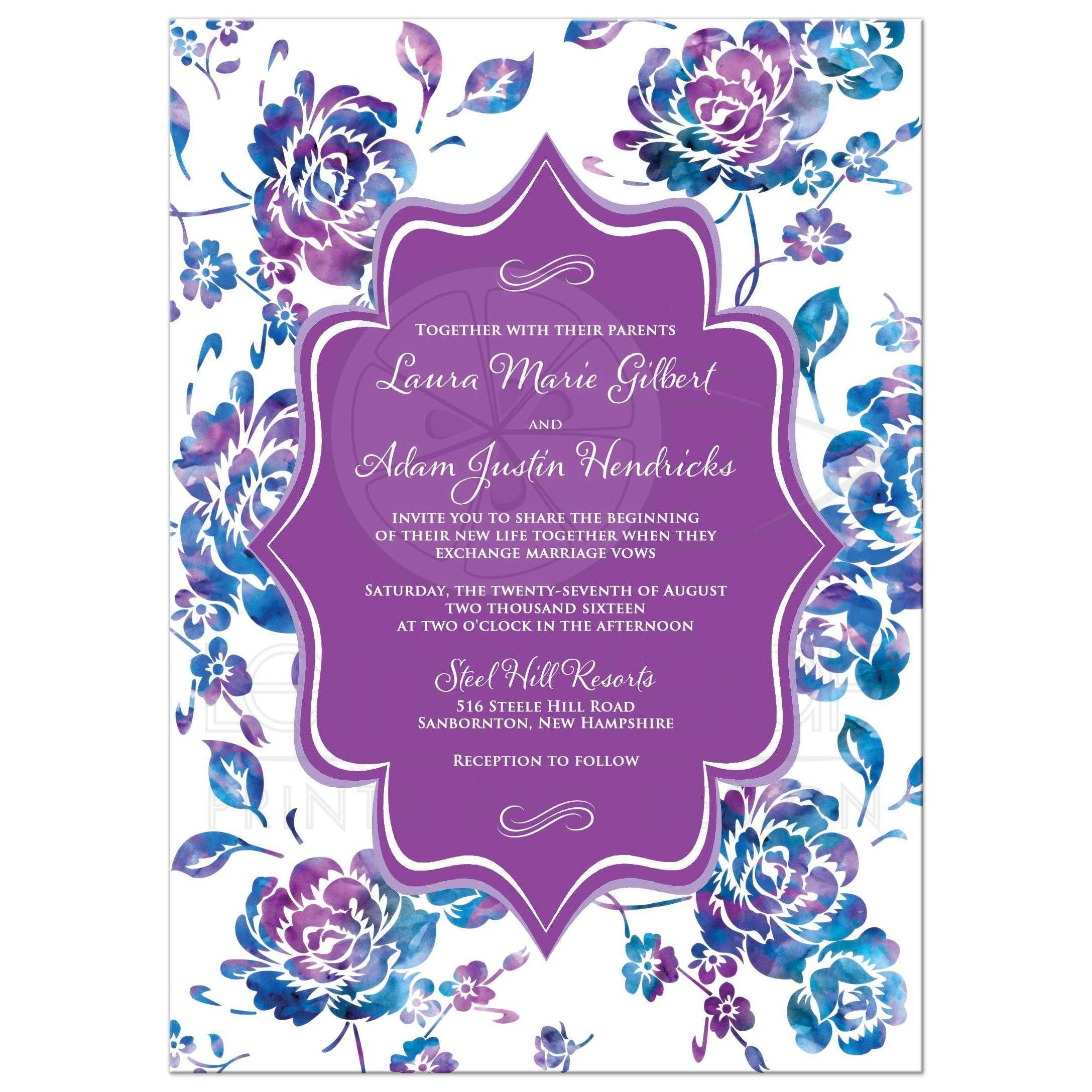 Wedding Invitation Watercolor Fl Purple Teal Turquoise Blue White Scrolls