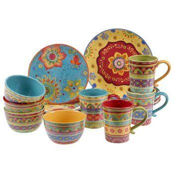 Vibrant, Beautiful, Colorful 100% Ceramic 16 Pc Dinnerware Set Tunisian  Sunset Http
