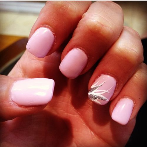 Pastel pink nails w/ design on ring finger - Neon Green Zebra French Manicure! Hair And Nails! Pinterest