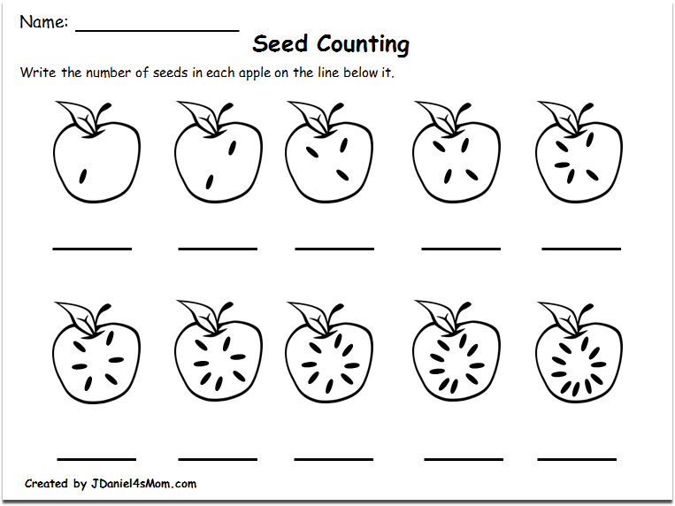 Counting Worksheets 1-10 with an Apple Theme : Counting