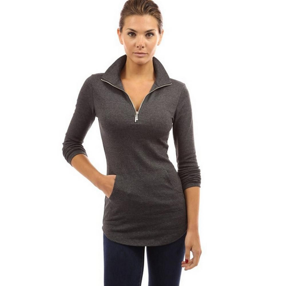 Skinny Women T-shirt Solid Long Sleeve V-neck Zipper Tops Casual Slim Fit Shirt #zippertop