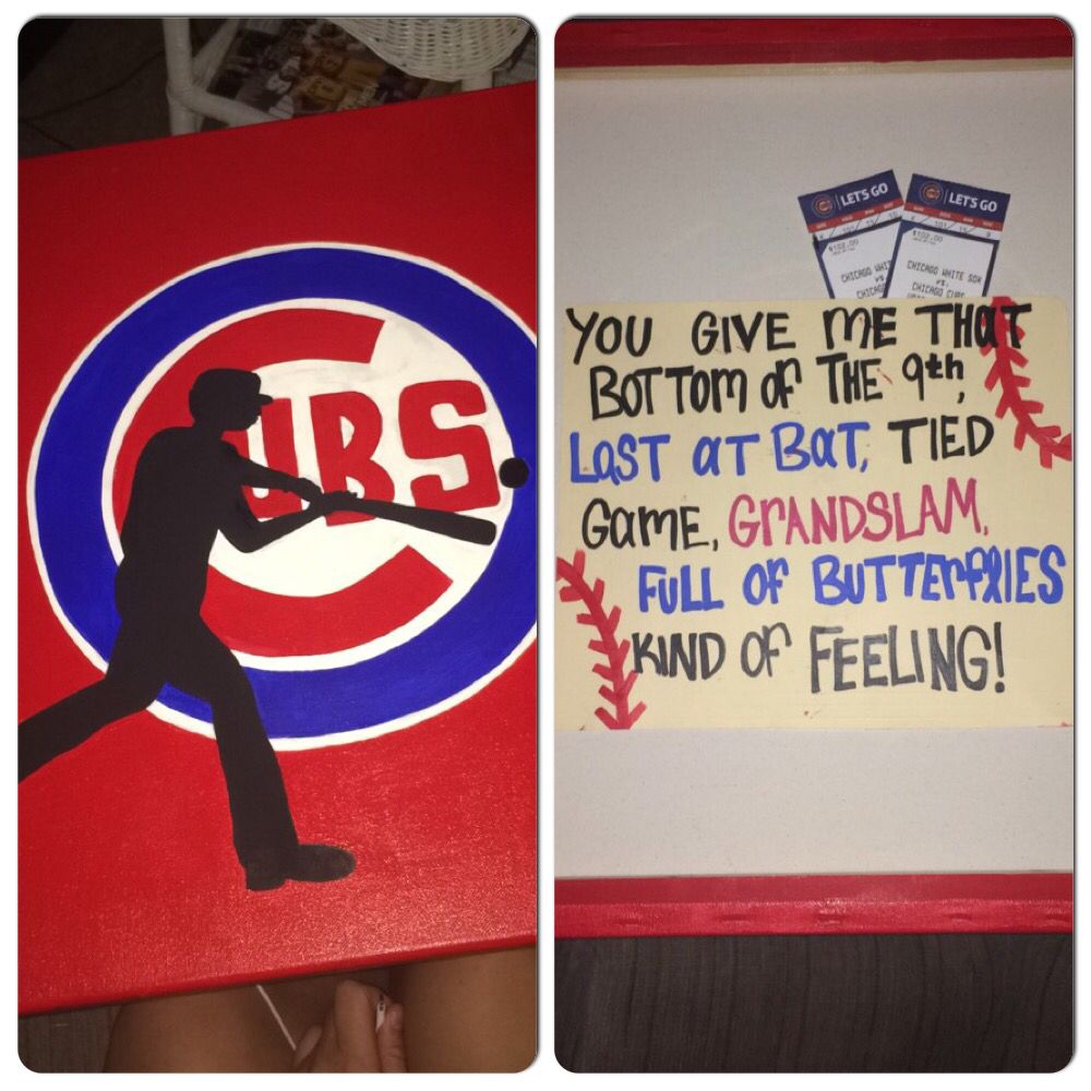 My Boyfriend Loved This Little Surprise I Made Him For His: I Bought My Boyfriend Cubs Tickets For His Birthday. So I