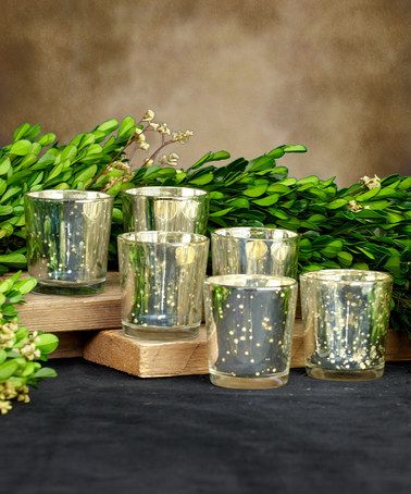 Look at this #zulilyfind! Silver Glass Votive Cup Holder - Set of Six #zulilyfinds