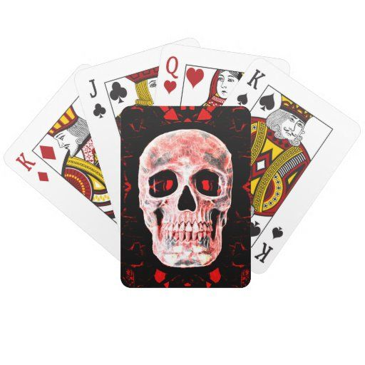 Photo of Skull Pop Art Gothic Black Red Modern Decorative Playing Cards