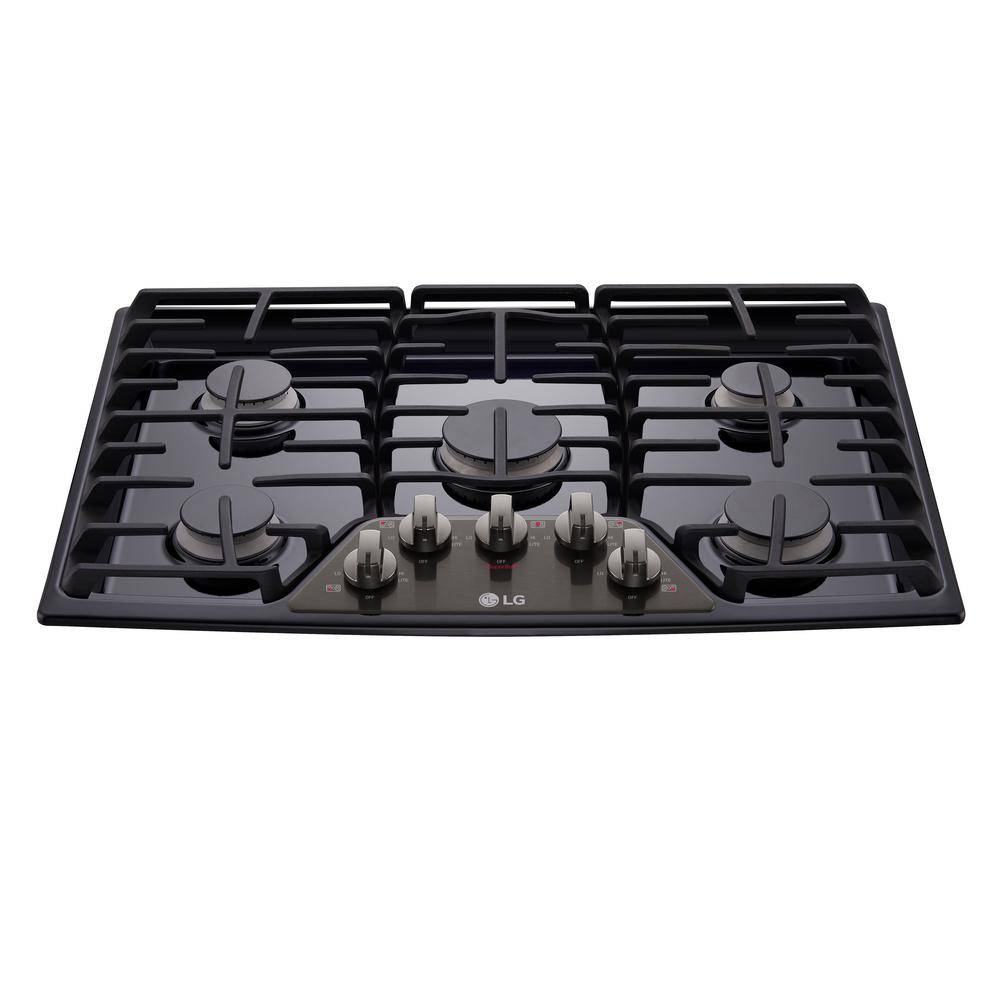 Lg Electronics 30 In Gas Cooktop In Black Stainless Steel With 5 Burners Including 17k Superboil Burner Lcg3011bd Black Stainless Steel Stainless Steel Steel