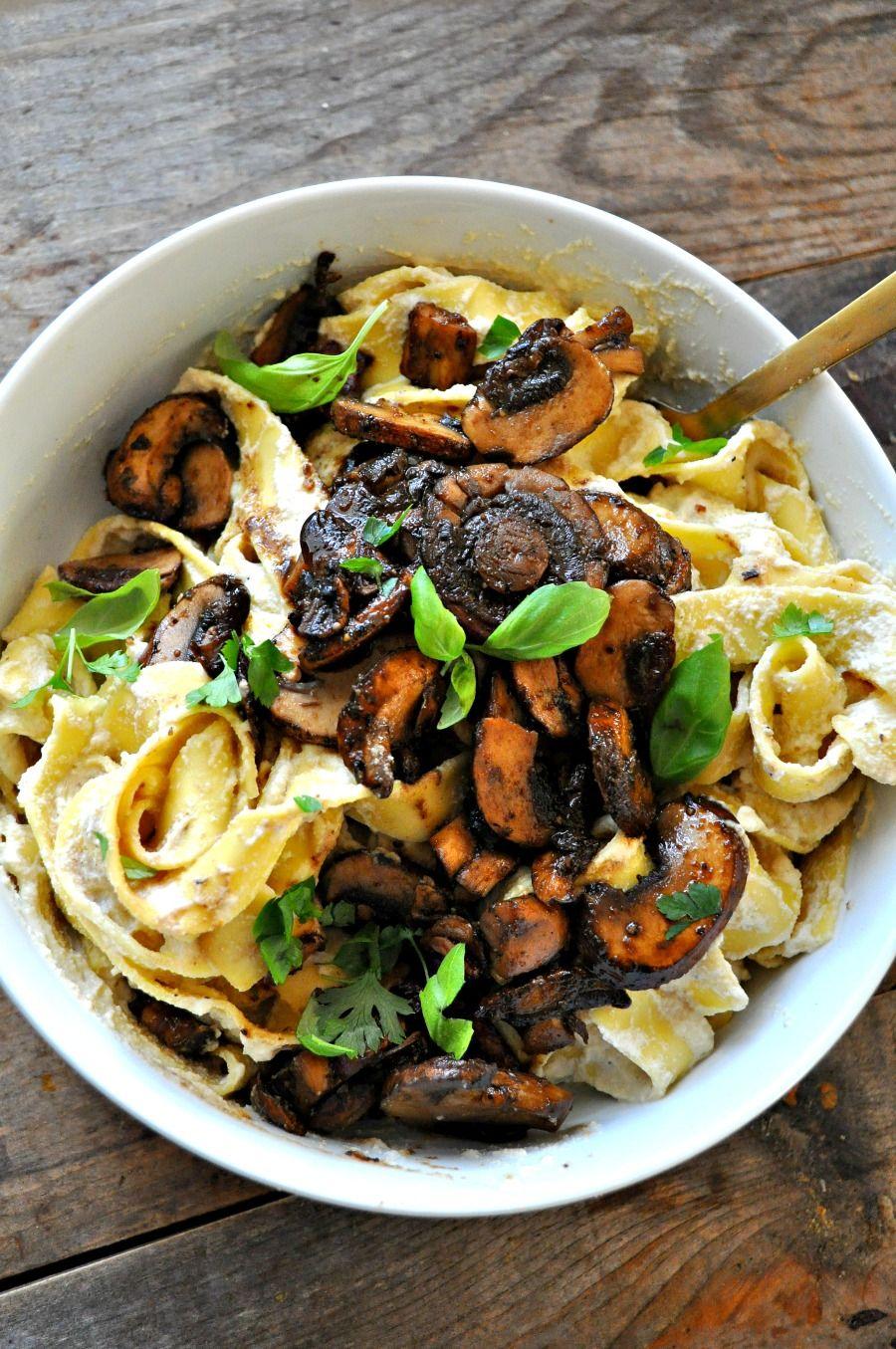 Vegan Creamy Smokey Balsamic Mushroom Pasta