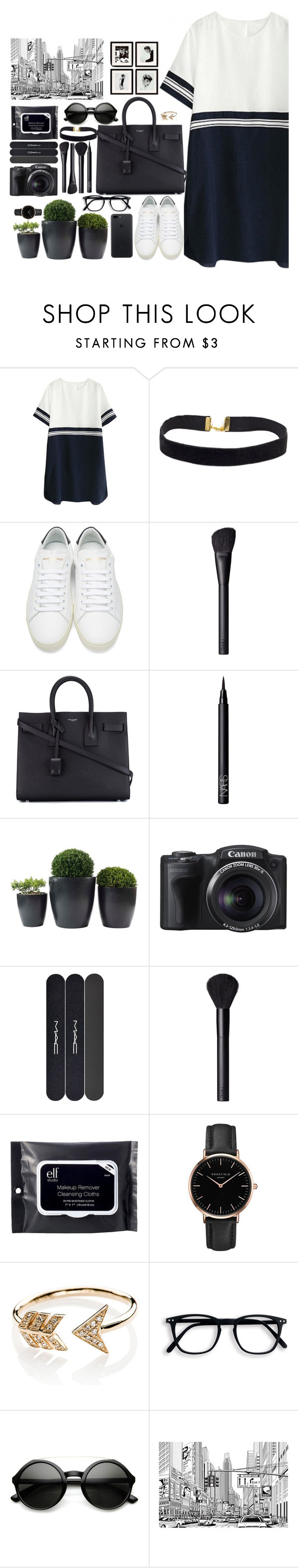 """""""Untitled #131"""" by maggie1314 ❤ liked on Polyvore featuring Yves Saint Laurent, NARS Cosmetics, MAC Cosmetics, e.l.f., Topshop, EF Collection, ZeroUV and Eichholtz"""