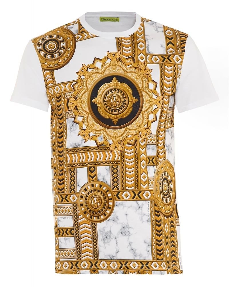 70af834de Mens T-Shirt Gold Chain Print Slim Fit White Tee. Mens T-Shirt Gold Chain  Print Slim Fit White Tee Versace Jeans ...