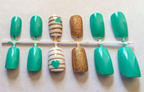 Neon fake nails glitter false nails white artificial nails nautical ...