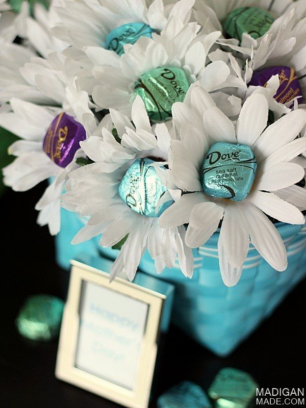 Make a chocolate flower bouquet.