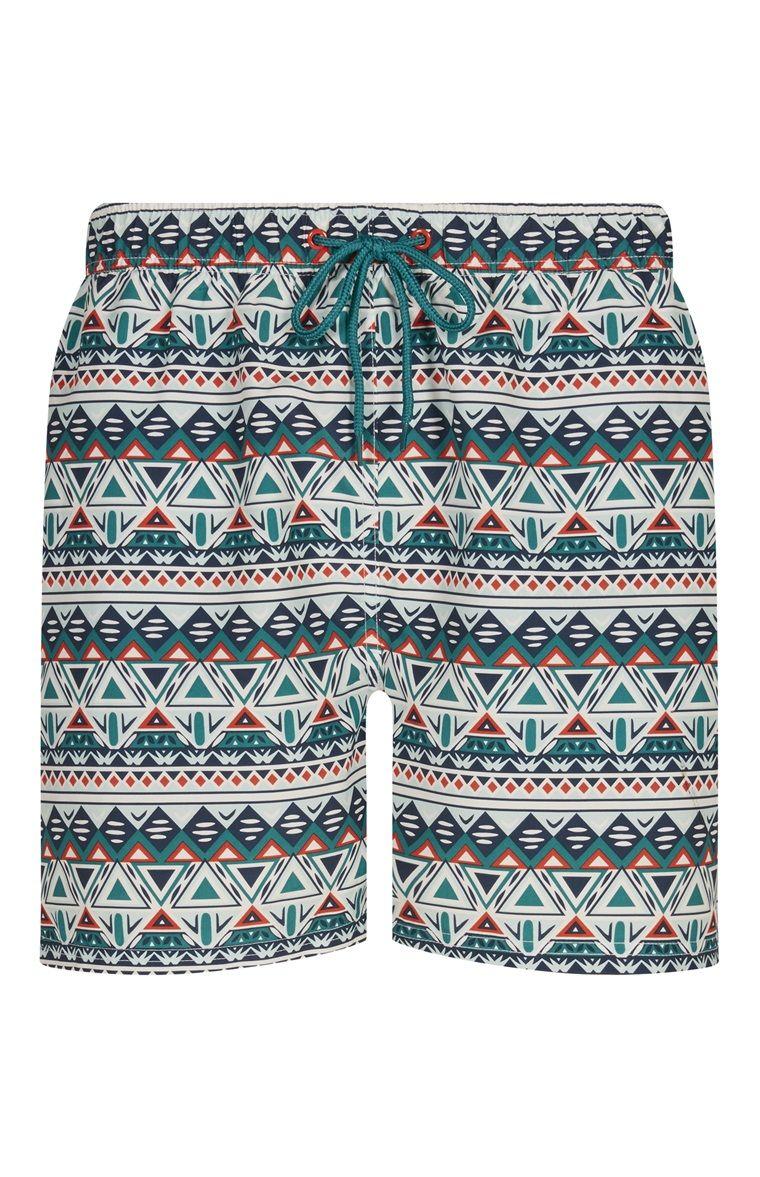 43d3390d8e Green Aztec Print Swim Trunks | Men's Wear. | Swim trunks, Trunks, Green