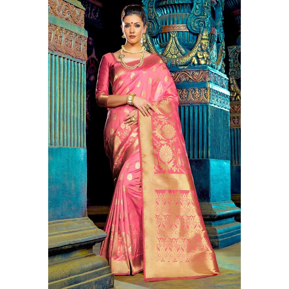 fc82ae9bdb940a Designer Polyester Saree With Polyester Sweet Heart Neck Blouse In Pink  Color - Dmv15197