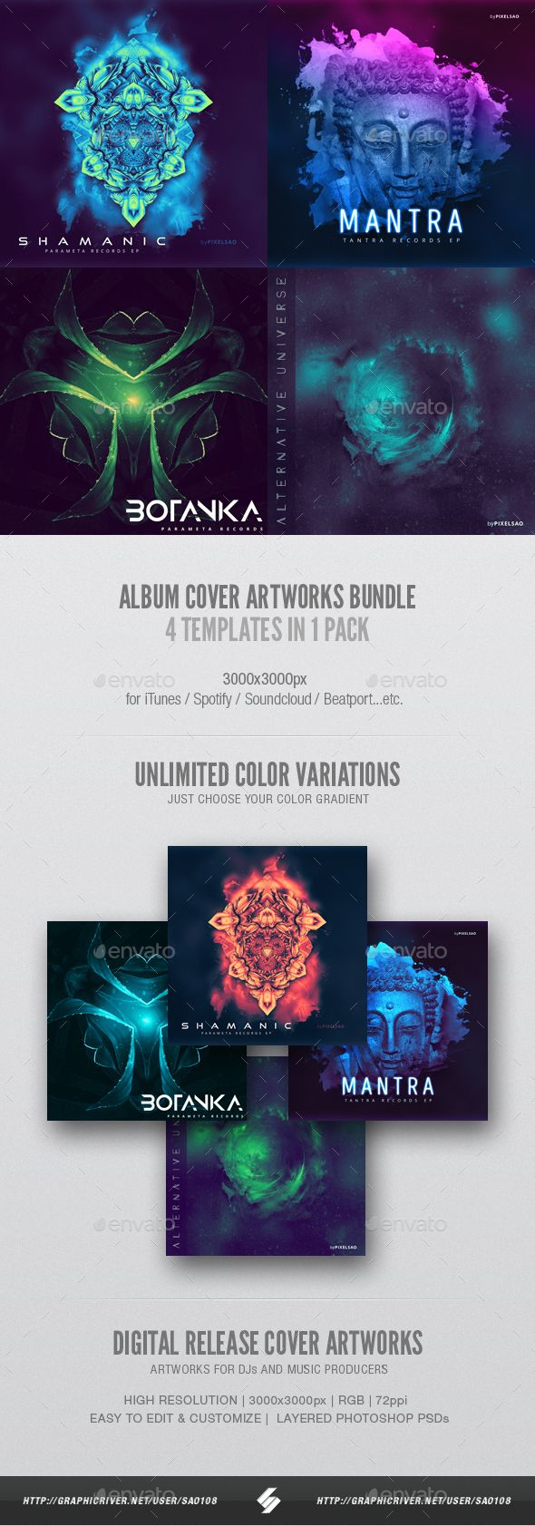 Electronic Music Album Cover Artwork Templates Bundle 3