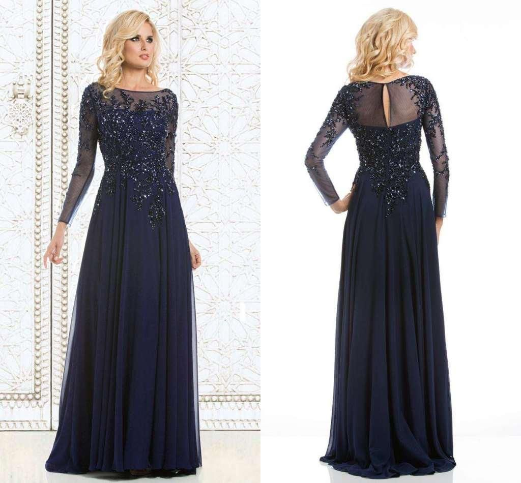 Wholesale motherus dresses buy navy blue elegant a line long