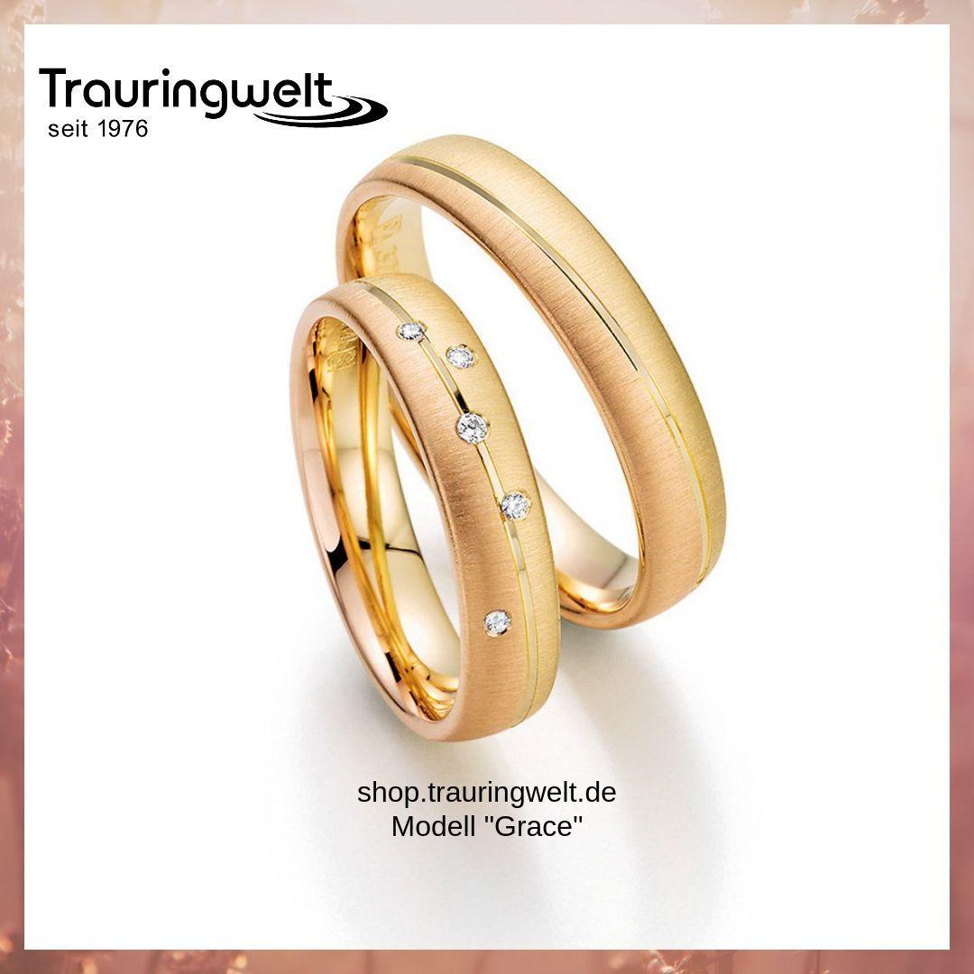 Trauringe Eheringe Aus 585er Gelb Rosé Und Rotgold Mit Brillantbesatz Trauringe Eheringe Ringe