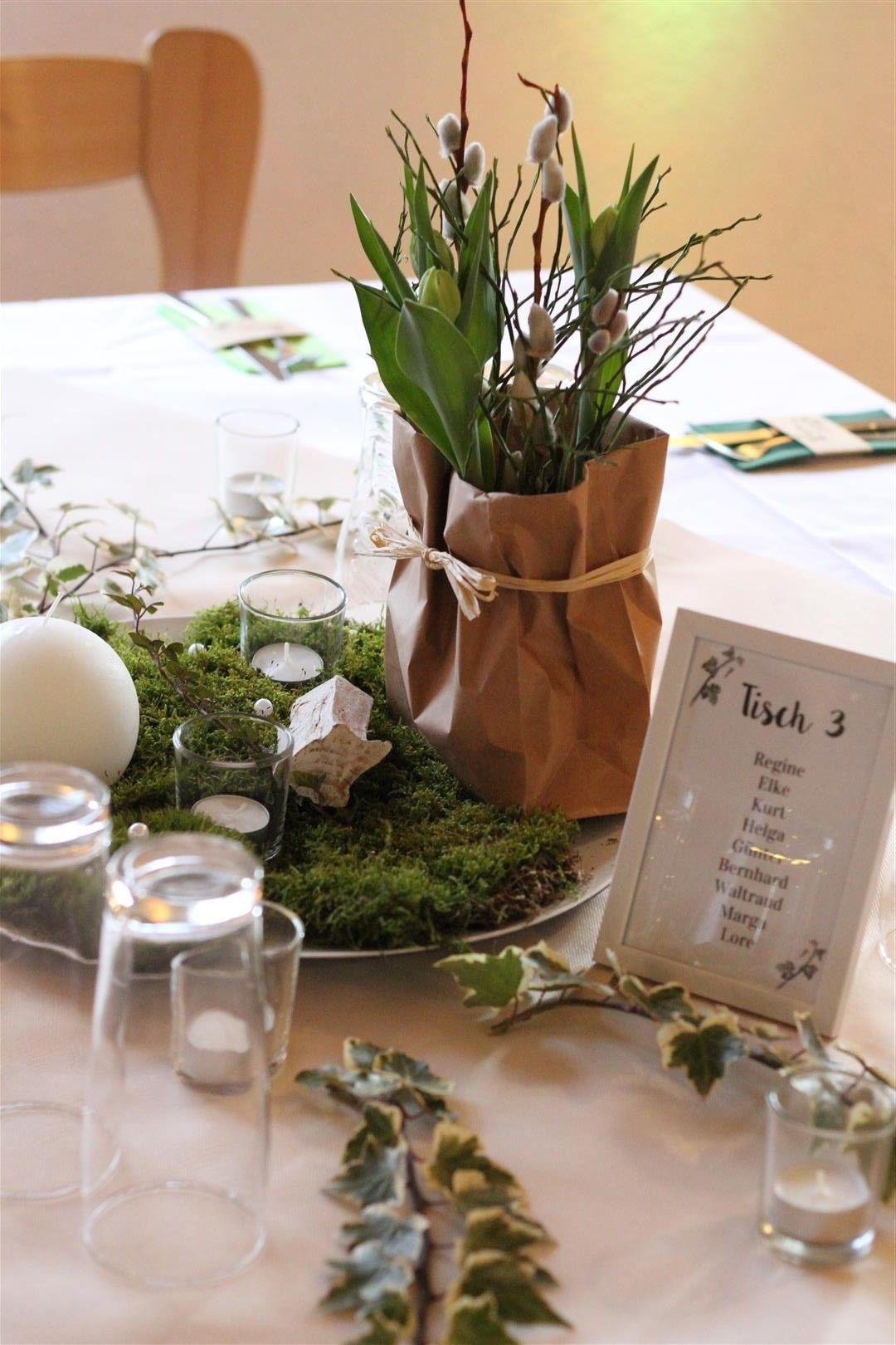 Tischdeko Geburtstag Grun Weiss Mit Holz Efeu Moos Waldoptik