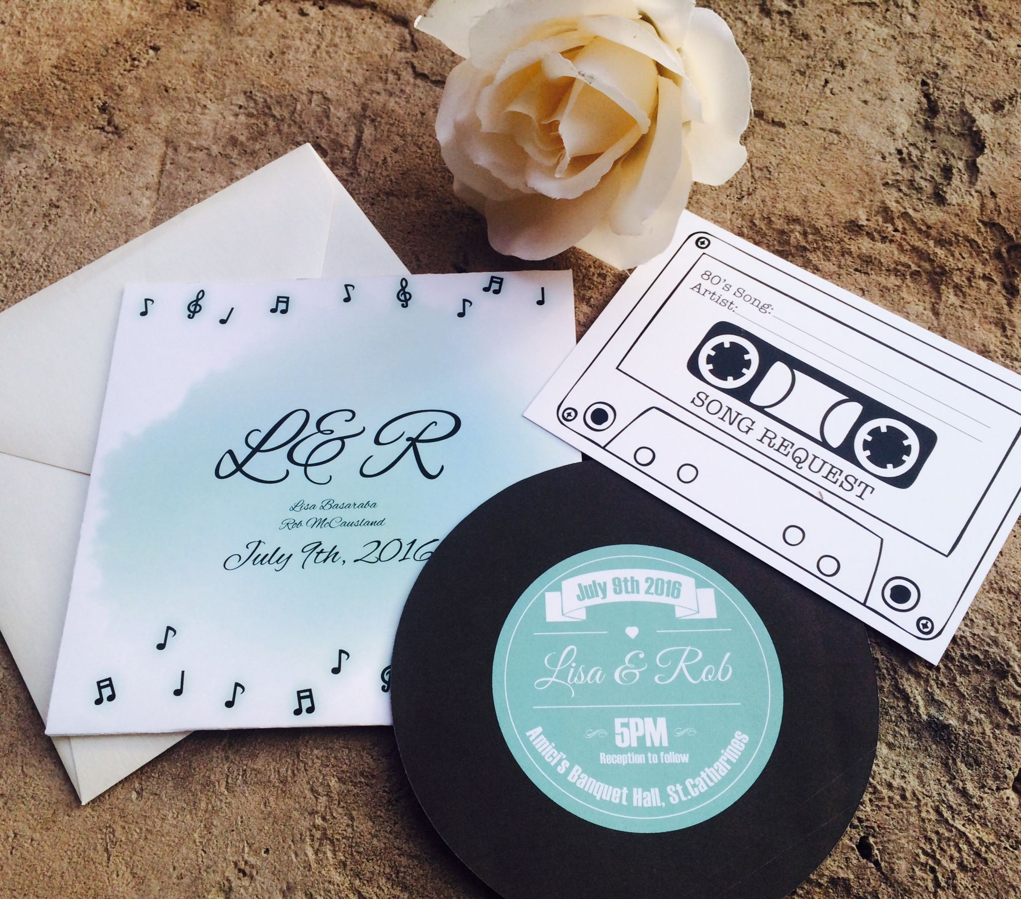 Vintage record wedding invitations in tiffany blue. Features record ...