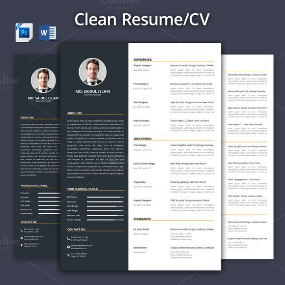 Clean ResumeCv TemplateWord Format ByGraphicsauthor  Resume Cv