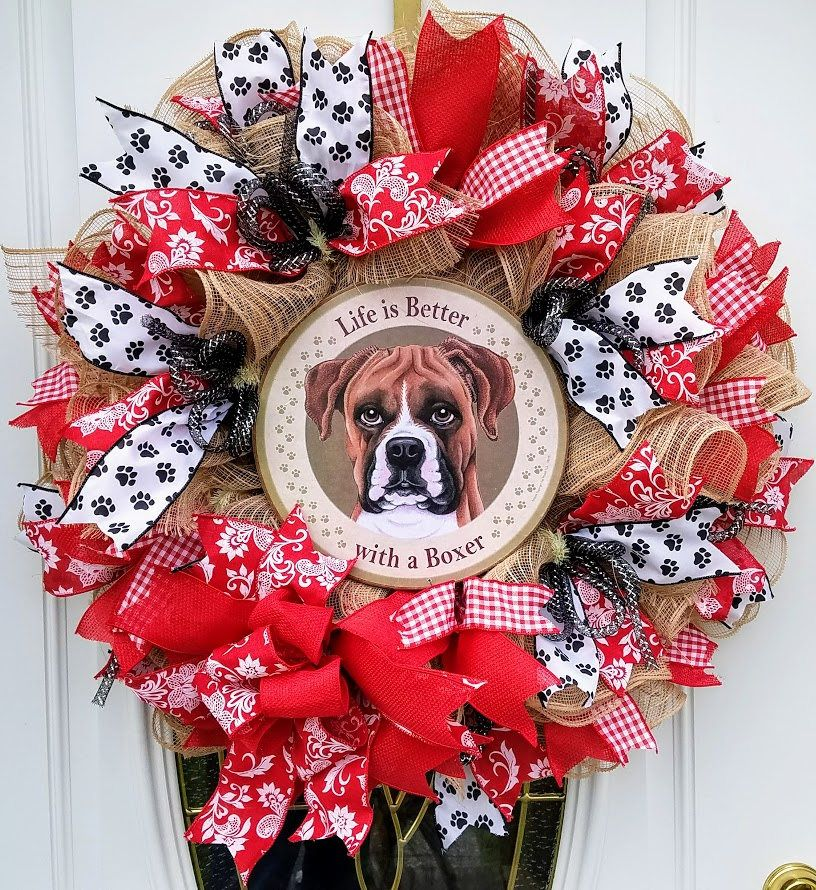 Mesh Ruffle Dog Wreath Boxer Dog Wreath Pet Wreath Dog Lovers