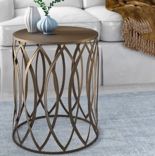 Metal Drum Table Side End Accent Antiqued Gold Living Room