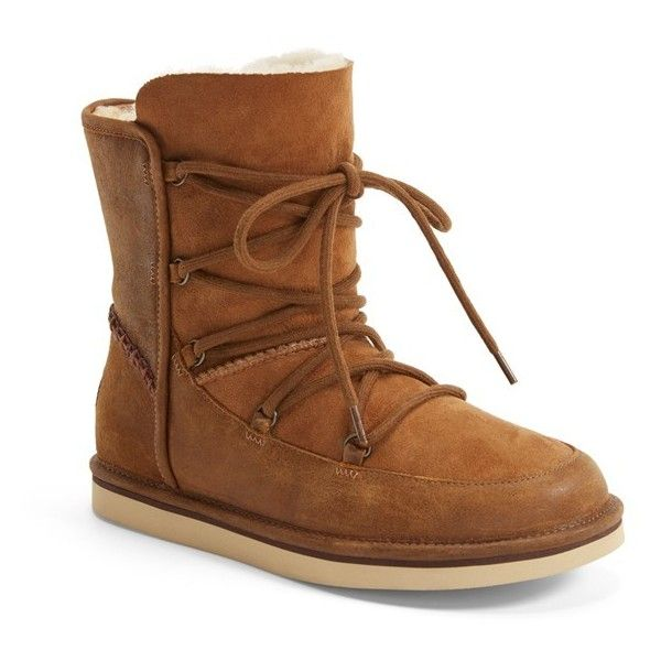"""UGG 'Lodge' Water Resistant Lace-Up Boot, 1"""" heel (€180) ❤ liked on Polyvore featuring shoes, boots, ankle booties, ankle boots, chestnut, leather boots, short boots, short lace up boots and lace up boots"""