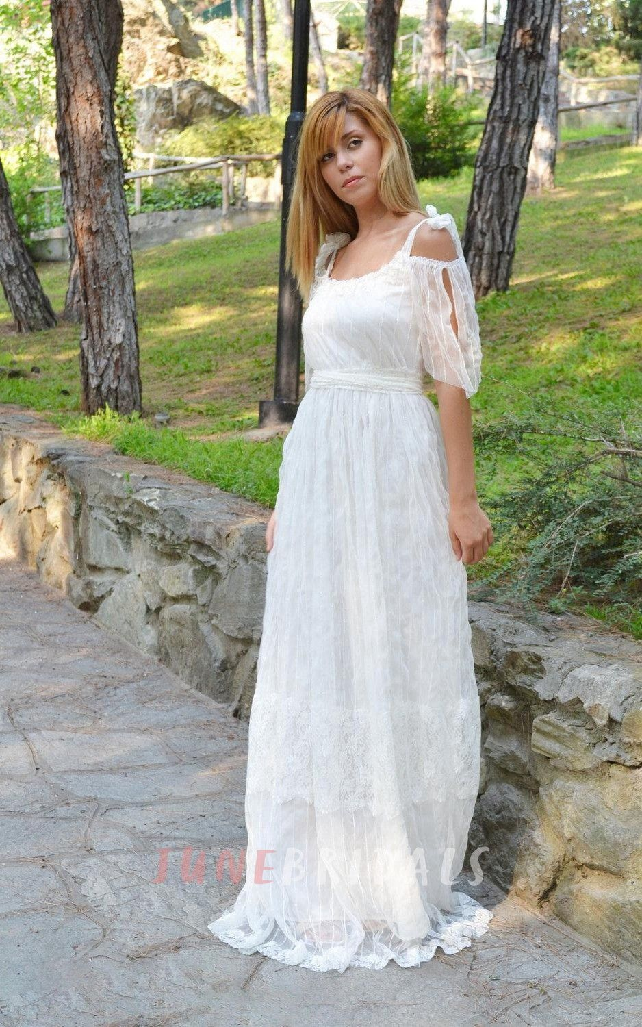 Boho empire backless long organza wedding dress with sash and scoop