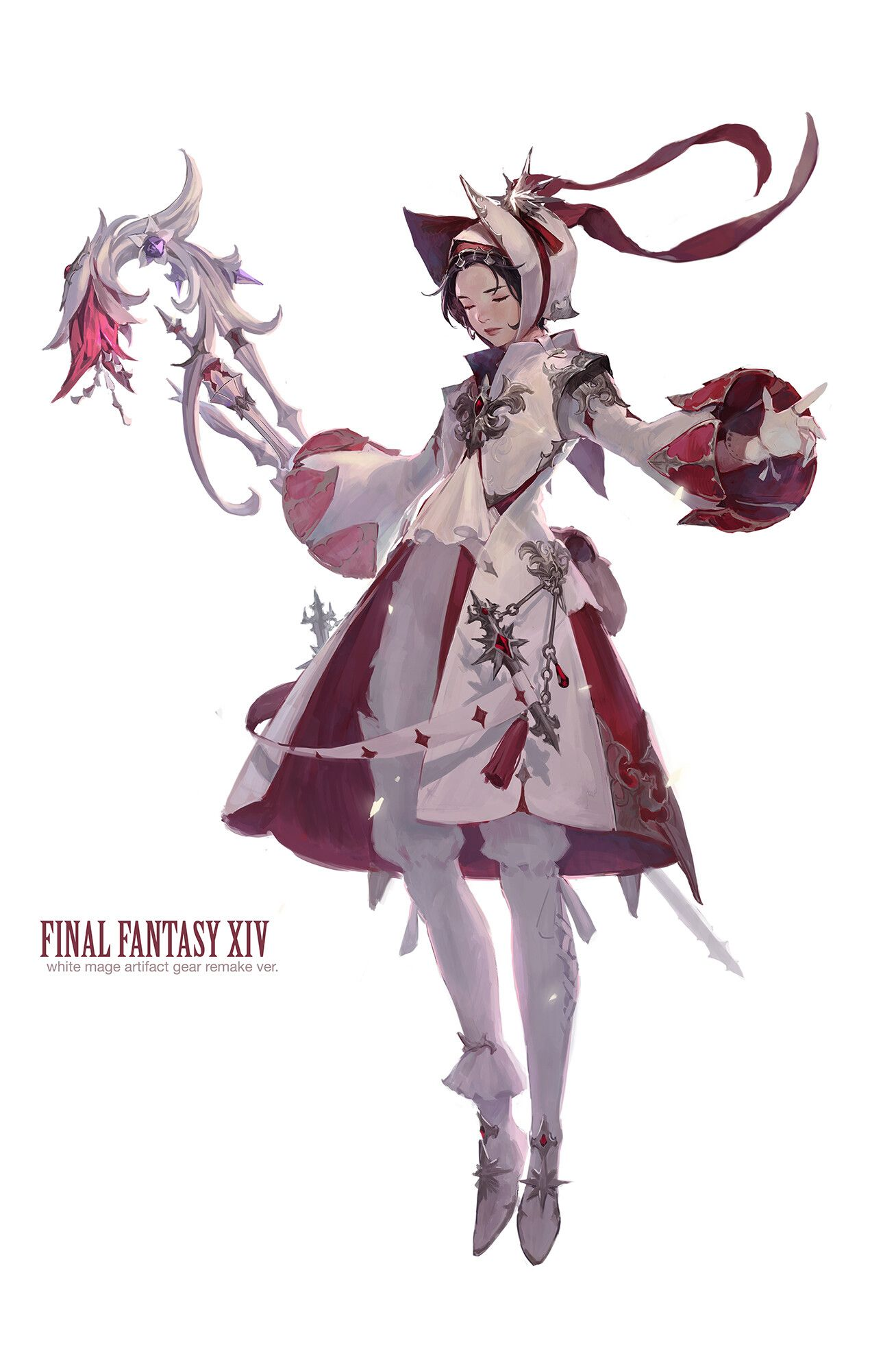 Ffxiv Fanart By Bom Yeonwhite Mage Artifact Gear Remake Ver Fantasy Character Design Concept Art Characters Character Art
