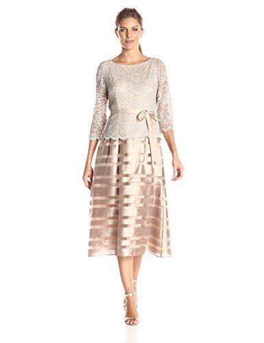 881824d220f Alex Evenings Women s Tea-Length A-Line Dress with Tie Belt ...