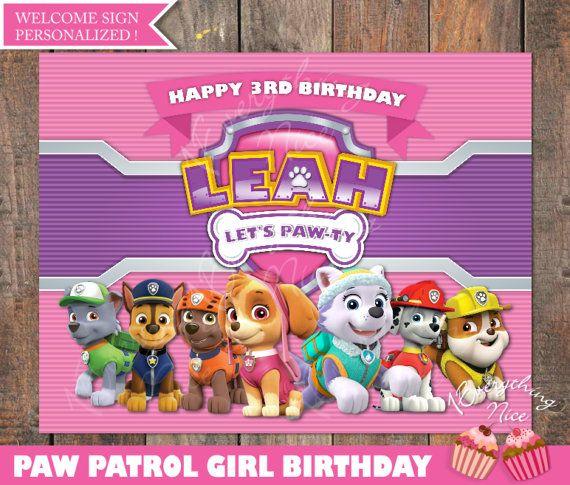 Paw Patrol Theme Pink Happy Birthday Sign Personalized