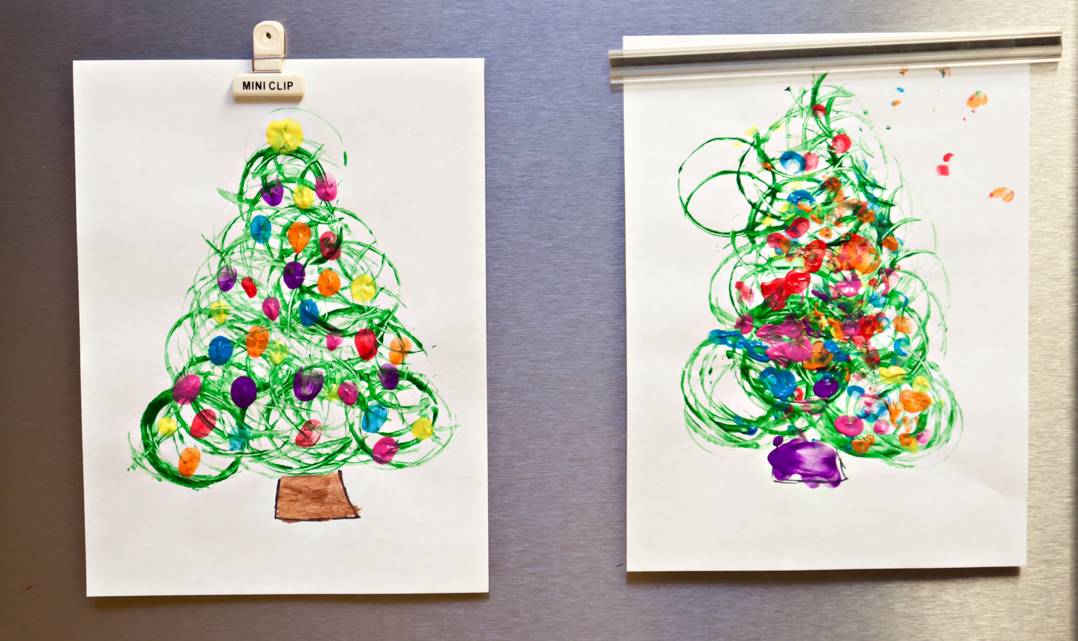 Simple Christmas Tree Craft -- COMPLETED (toilet paper roll and finger prints) | Christmas ...