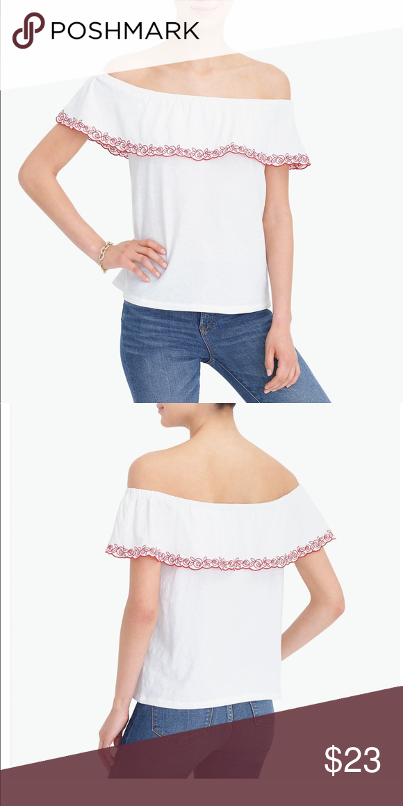 6485d8c2440 NWT J CREW embroidered off the shoulder top NWT J CREW Embroidered off the  shoulder top