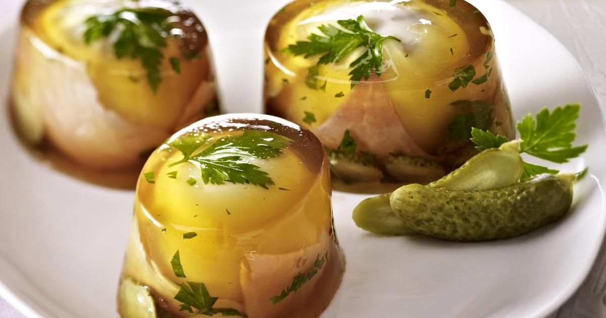 Ham And Eggs In Aspic Of Beef Recipe Scary Food Ham And Eggs Aesthetic Food