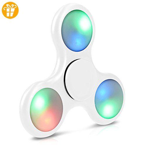 Navaris Fidget Spinner mit LED - Rundes Design Stresslöser für Nervosität Stress ADHS Angstzustände Langeweile Konzentration - Weiß - Fidget spinner (*Partner-Link)