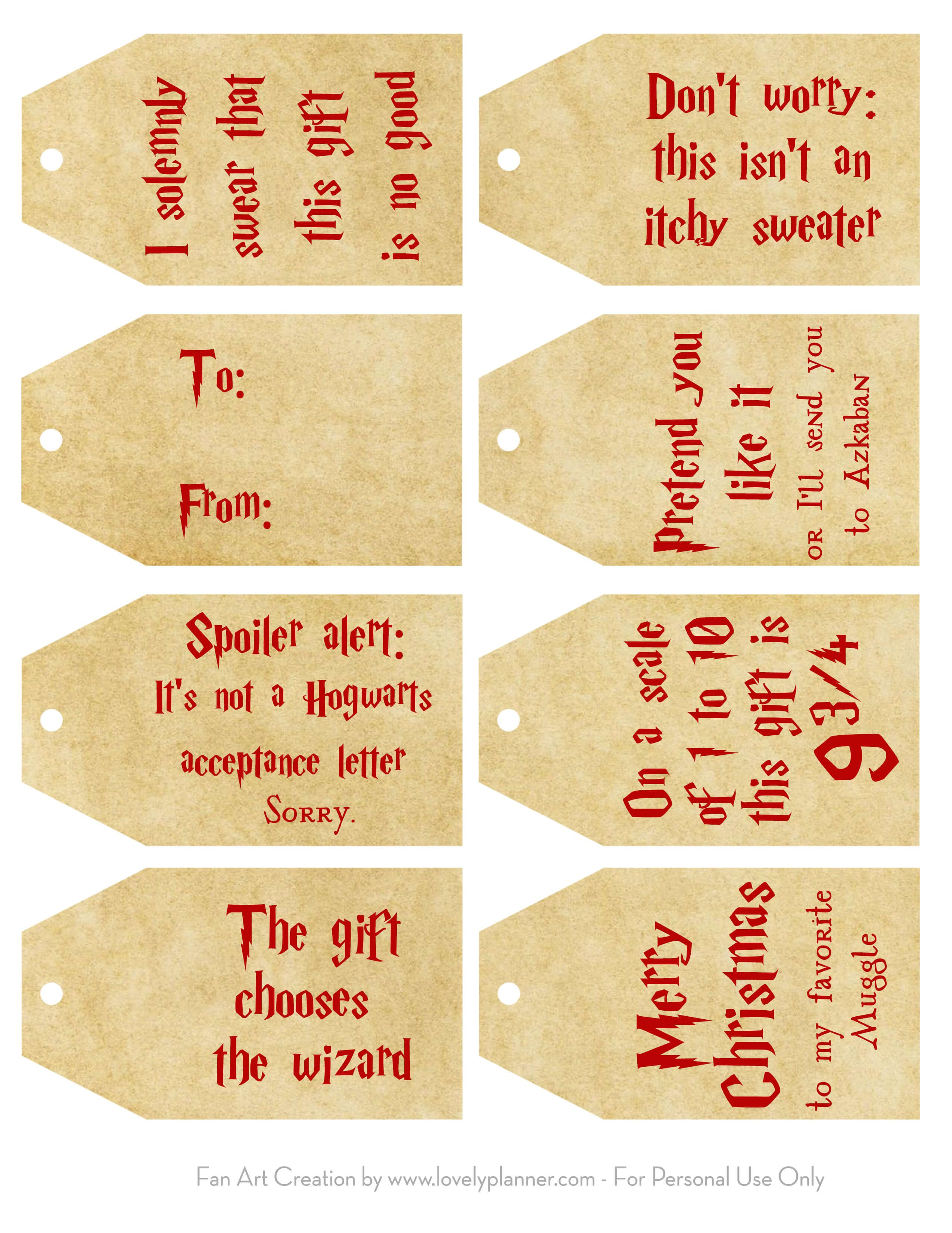 Harry Potter Christmas Gifts.Free Printable Harry Potter Christmas Gift Tags Harry