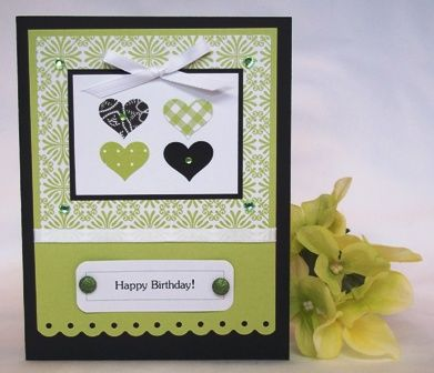 Make Your Own Birthday Card Green Hearts To Make Pinterest