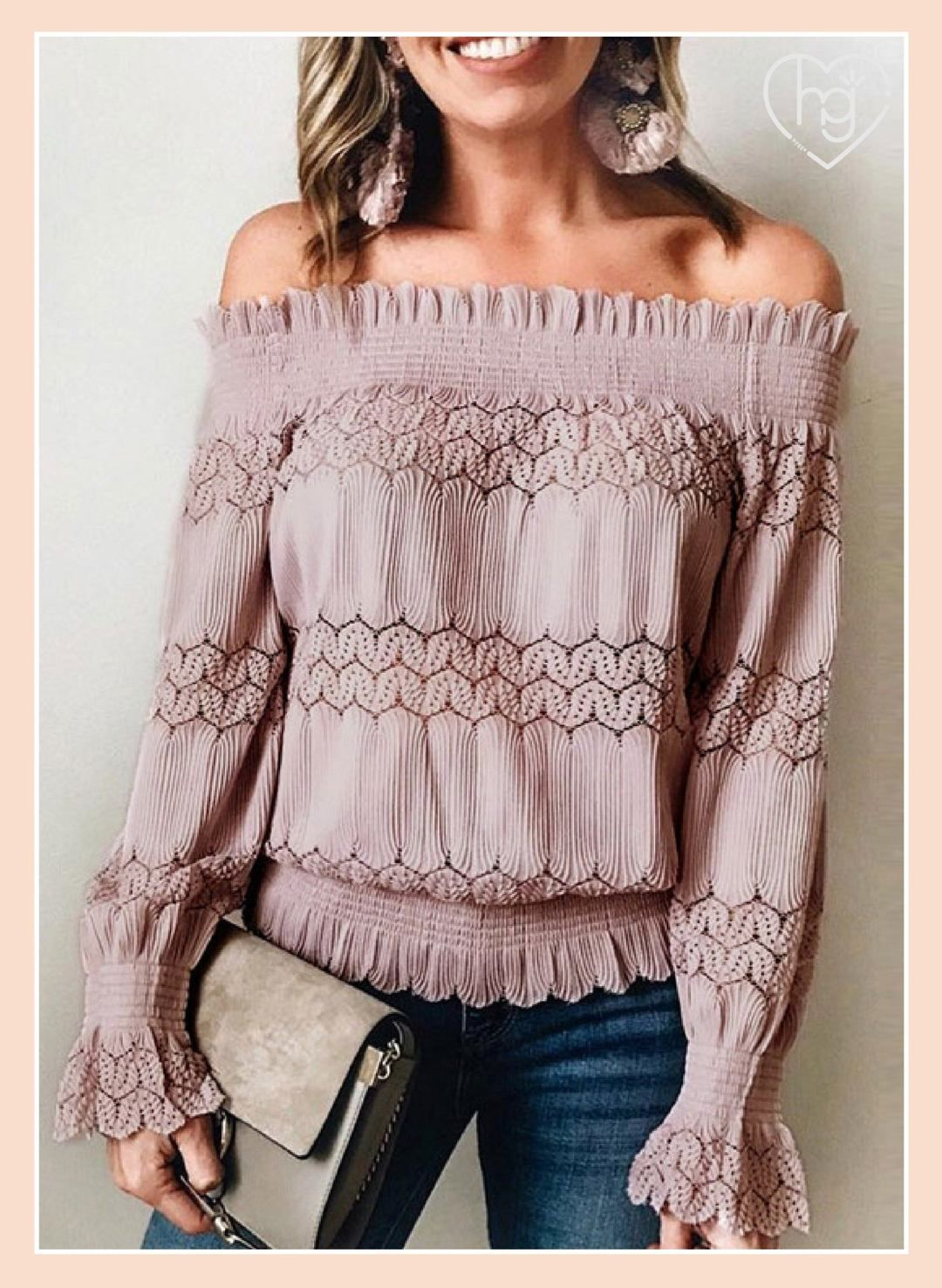 Womens Lace Floral Ruffle Long Sleeve Shirts Ladies Slim Fit Blouse Casual Tops