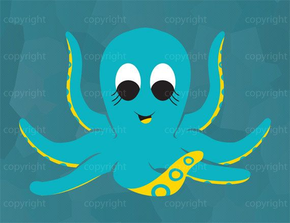 INSTANT DOWNLOAD  Cute Octopus Illustration  by SRiehlCreations, $3.00