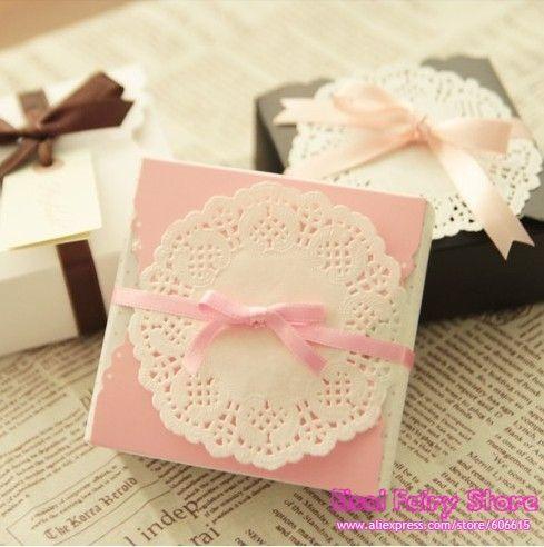 Groothandel roze/witte/zwarte vierkante vorm snak verpakkingsdoos, kleine kraft doos, candy box, cookies