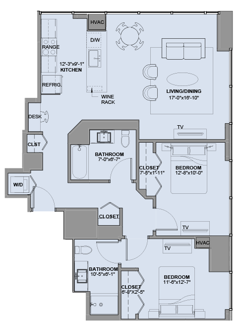 Floor Plan For A Two Bedroom Apartment Experience73 In Chicago IL