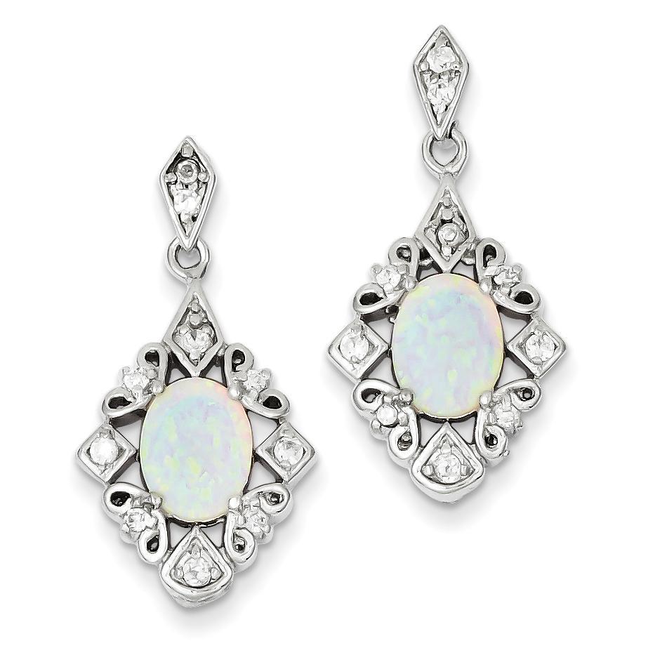 Lex /& Lu Sterling Silver Created Opal Daisy Post Earrings