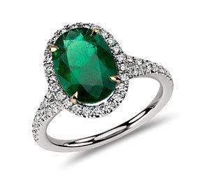 Oval Emerald and Micropavé Diamond Ring in Platinum-dream engagement ring