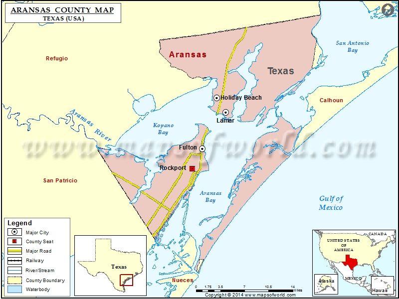 Aransas County Map, Texas   USA Maps   Pinterest   County map, Map ...