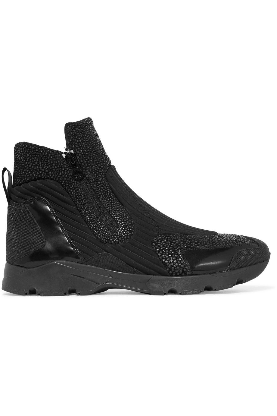 MM6 MAISON MARGIELA Textured-leather and neoprene high-top sneakers.  #mm6maisonmargiela #
