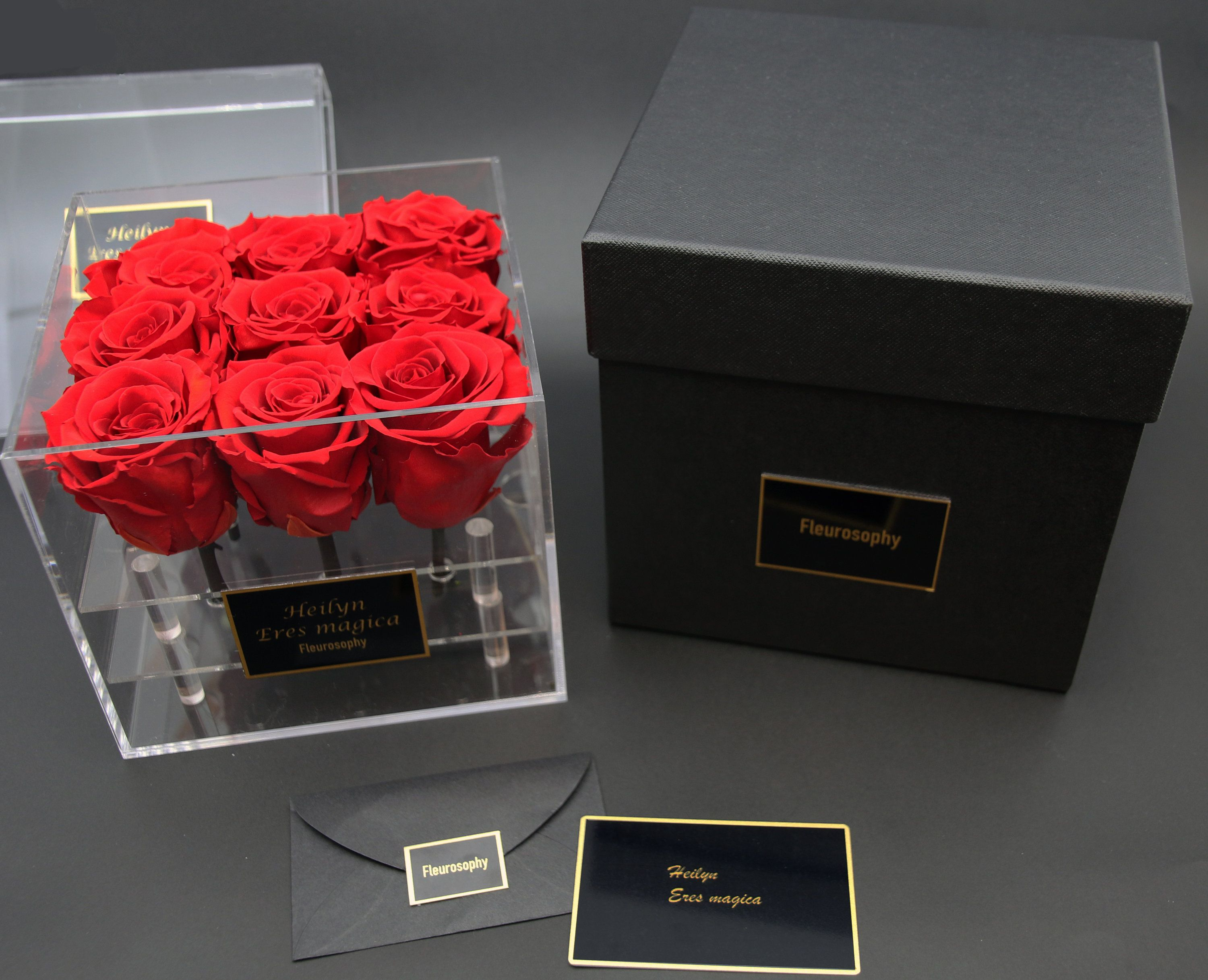 9 Roses In Acrylic Box Preserved