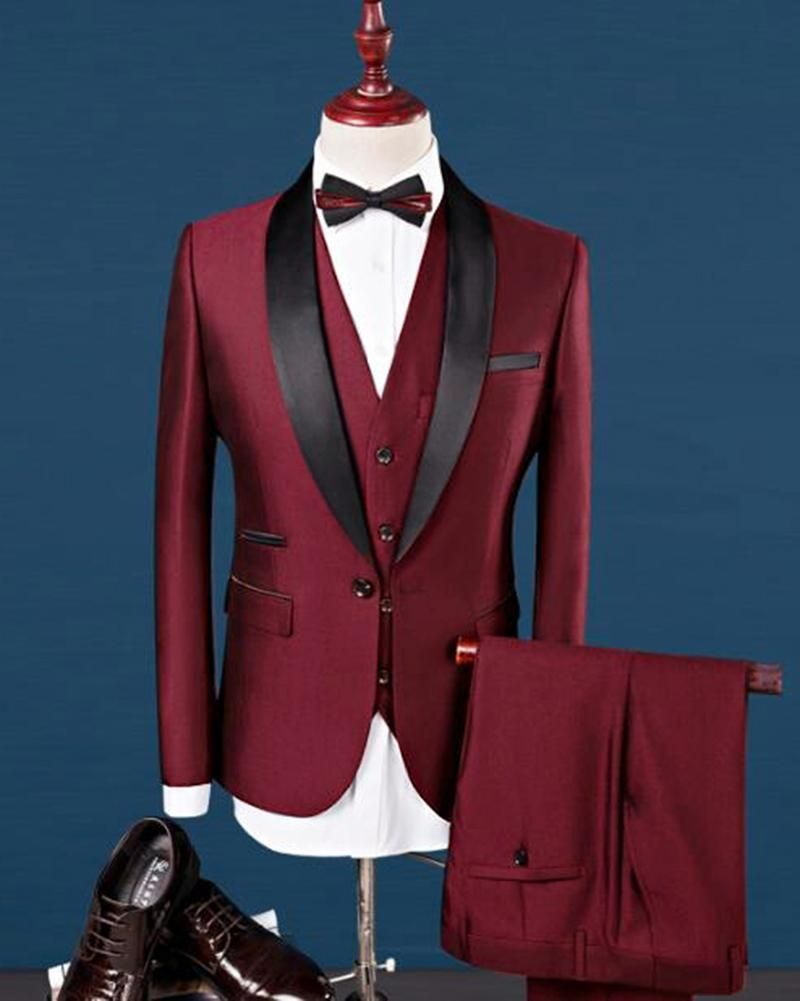 Cb0416 Shawl Lapel Wine Red Teal Wedding Tuxedos Grooms Dress Prom Men Suits 3 Pieces Jacketvest Pants In 2020 Dress Suits For Men Burgundy Tuxedo Blue Suit Wedding